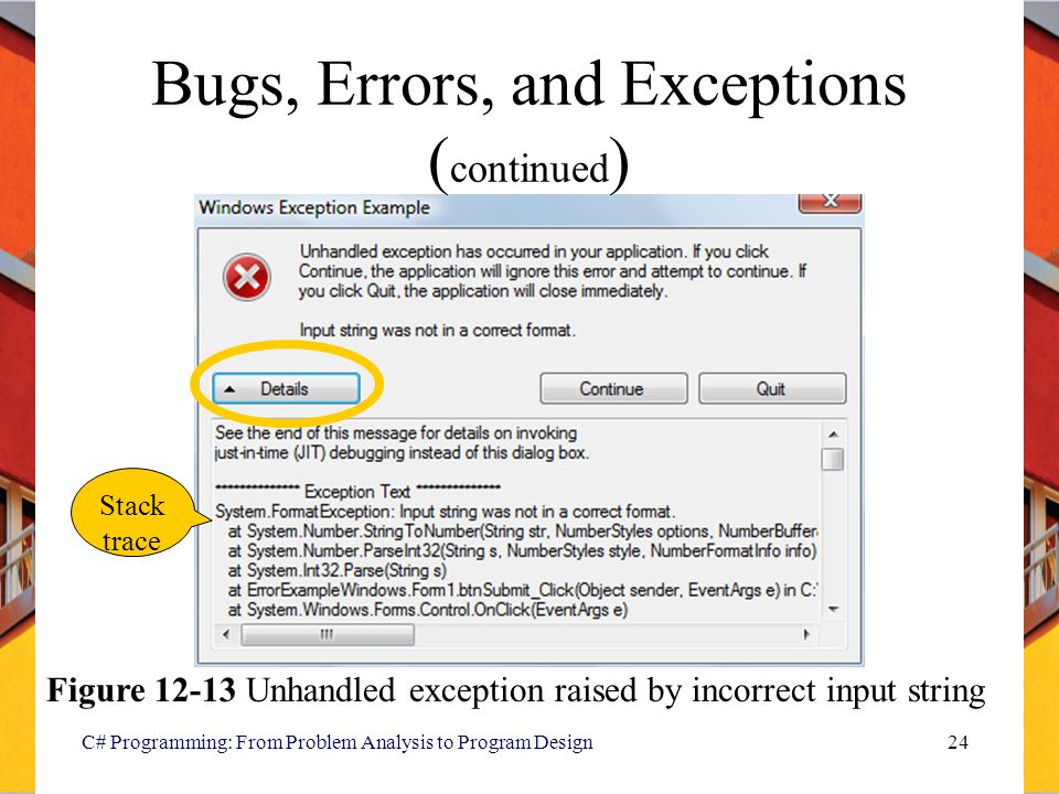 C# Programming: From Problem Analysis to Program Design24 Bugs, Errors, and Exceptions ( continued ) Stack trace Figure 12-13 Unhandled exception rais