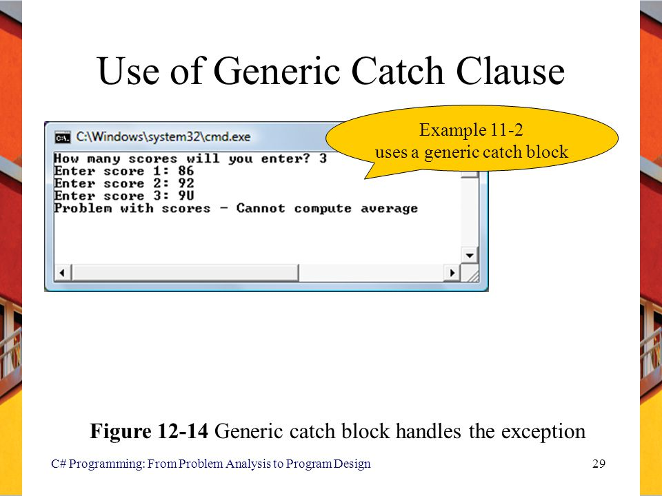 C# Programming: From Problem Analysis to Program Design29 Use of Generic Catch Clause Figure 12-14 Generic catch block handles the exception Example 1
