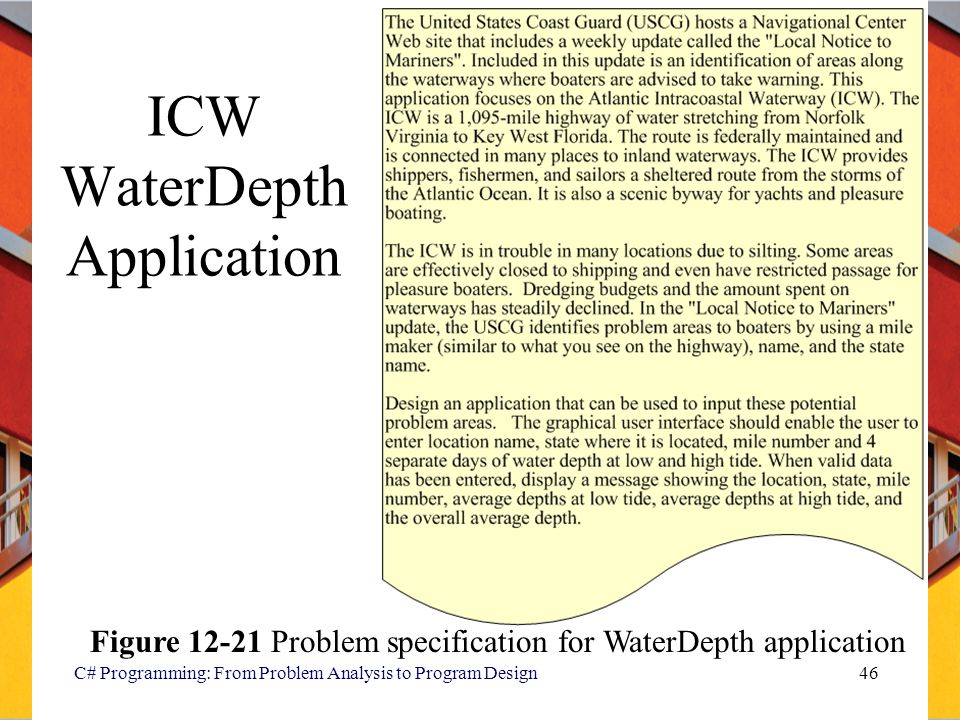 C# Programming: From Problem Analysis to Program Design46 ICW WaterDepth Application Figure 12-21 Problem specification for WaterDepth application
