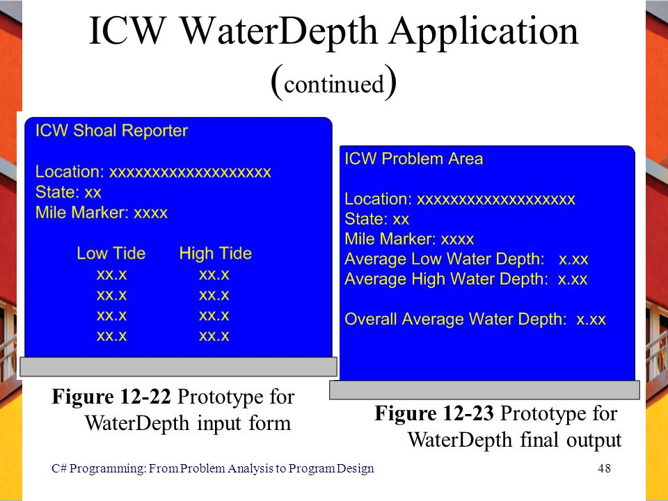 C# Programming: From Problem Analysis to Program Design48 ICW WaterDepth Application ( continued ) Figure 12-22 Prototype for WaterDepth input form Fi
