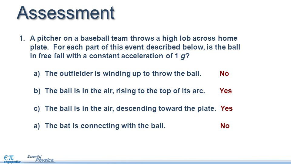 Assessment 1.A pitcher on a baseball team throws a high lob across home plate. For each part of this event described below, is the ball in free fall w