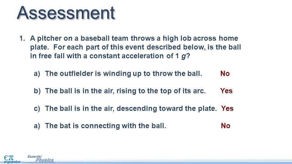 Assessment 1.A pitcher on a baseball team throws a high lob across home plate.