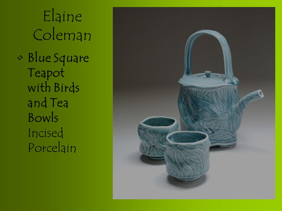 Elaine Coleman Blue Square Teapot with Birds and Tea Bowls Incised Porcelain