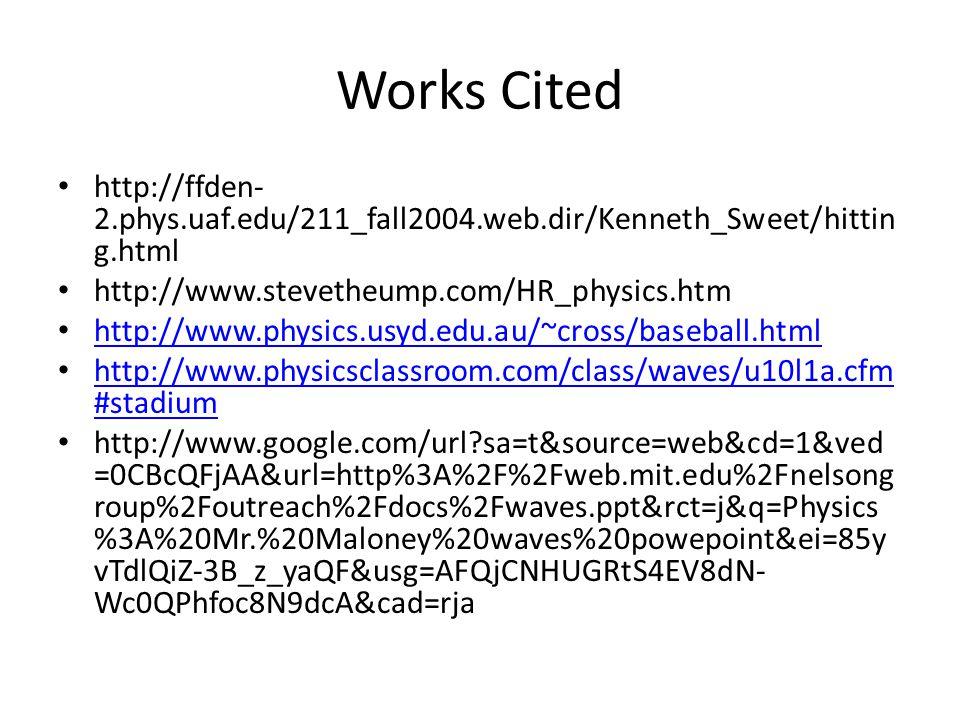 Works Cited http://ffden- 2.phys.uaf.edu/211_fall2004.web.dir/Kenneth_Sweet/hittin g.html http://www.stevetheump.com/HR_physics.htm http://www.physics