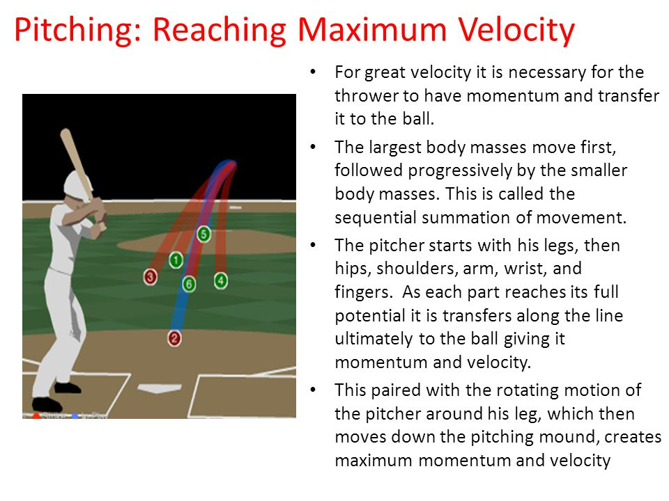 Pitching: Reaching Maximum Velocity For great velocity it is necessary for the thrower to have momentum and transfer it to the ball.