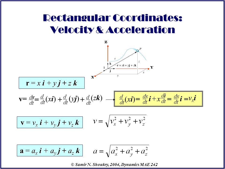 © Samir N. Shoukry, 2004, Dynamics MAE 242 Rectangular Coordinates: Velocity & Acceleration r = x i + y j + z k v = v x i + v y j + v z k a = a x i +