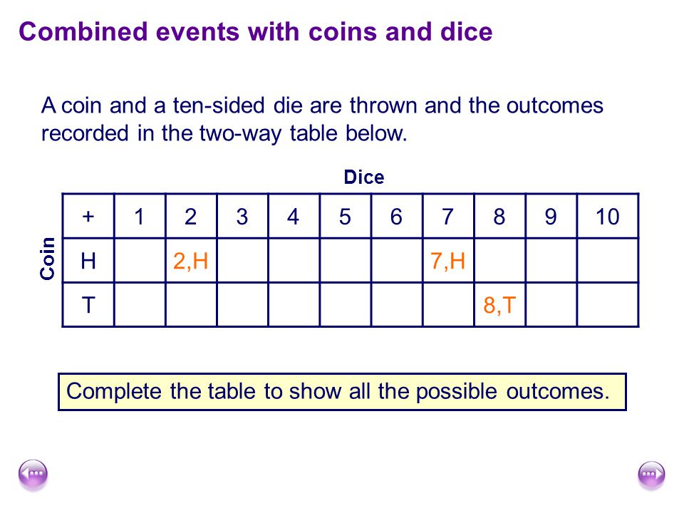 A coin and a ten-sided die are thrown and the outcomes recorded in the two-way table below.