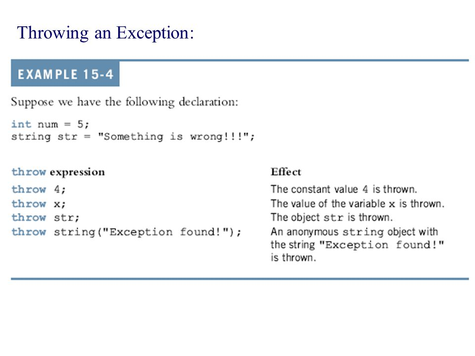 Throwing an Exception: