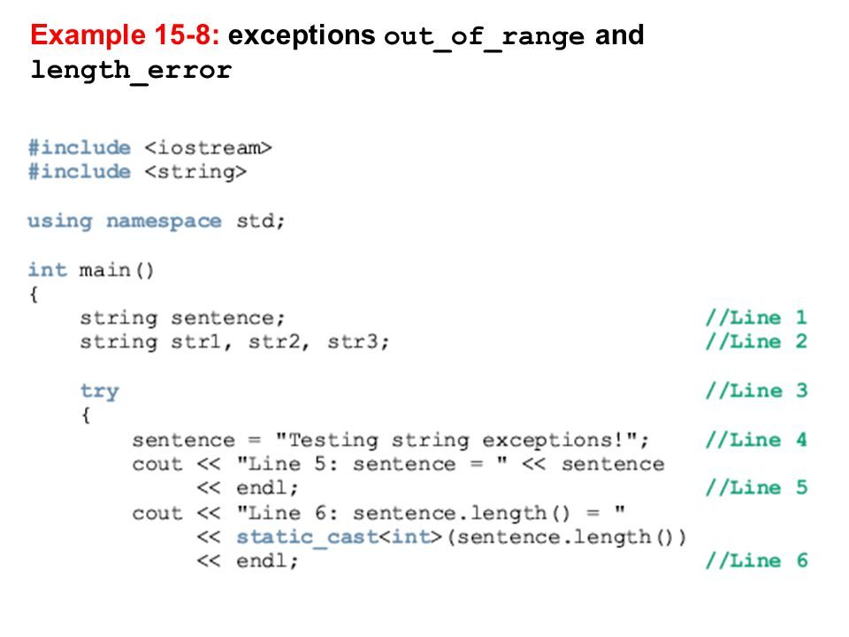 Example 15-8: exceptions out_of_range and length_error