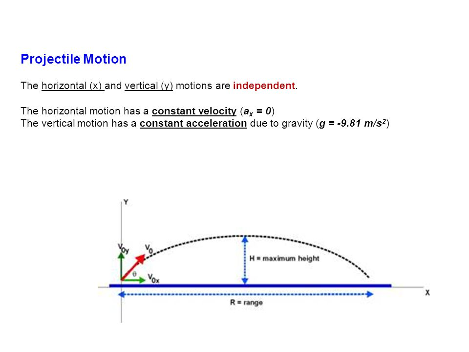 Projectile Motion The horizontal (x) and vertical (y) motions are independent.