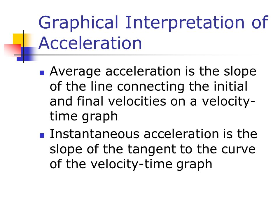 Graphical Interpretation of Acceleration Average acceleration is the slope of the line connecting the initial and final velocities on a velocity- time