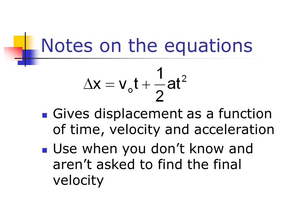 Notes on the equations Gives displacement as a function of time, velocity and acceleration Use when you don't know and aren't asked to find the final