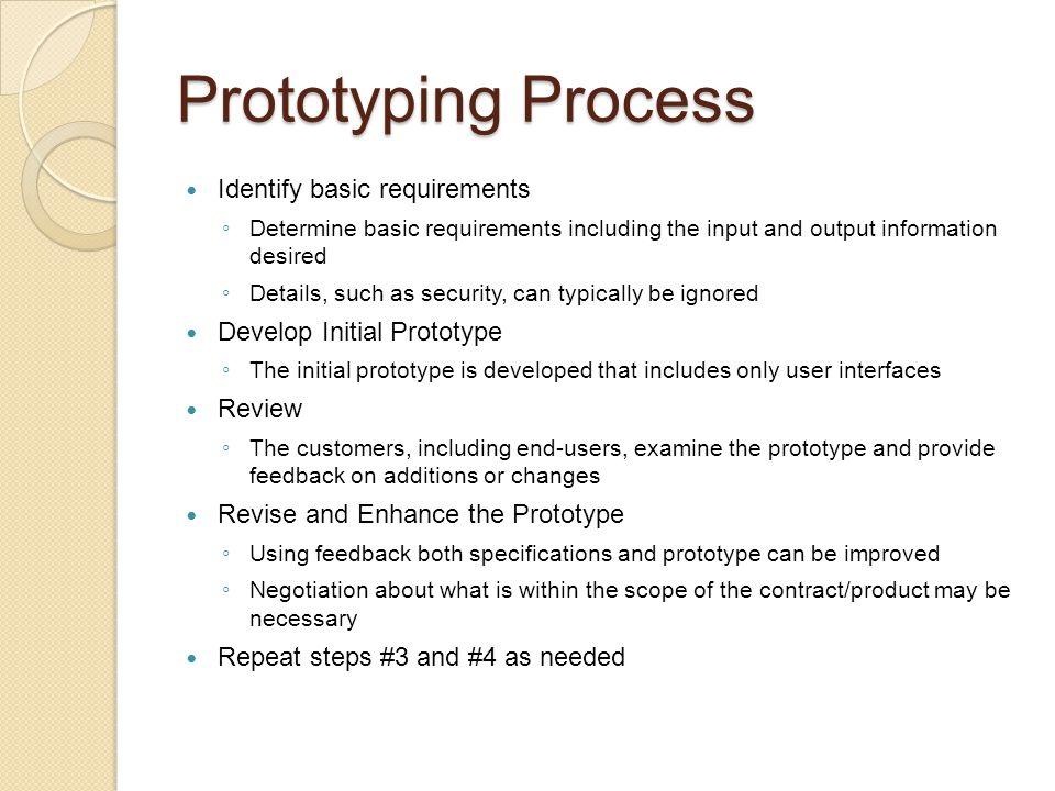 Dimensions of Prototypes Horizontal prototypes Vertical prototypes