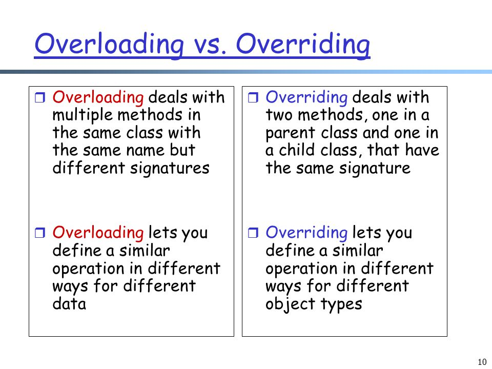 10 Overloading vs. Overriding r Overloading deals with multiple methods in the same class with the same name but different signatures r Overloading le