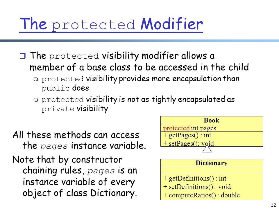 12 The protected Modifier  The protected visibility modifier allows a member of a base class to be accessed in the child  protected visibility provi