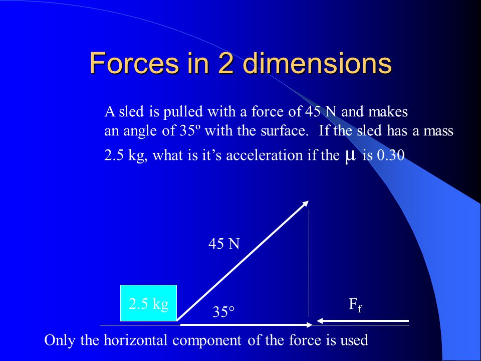 Forces in 2 dimensions 2.5 kg 35° Only the horizontal component of the force is used 45 N FfFf A sled is pulled with a force of 45 N and makes an angl