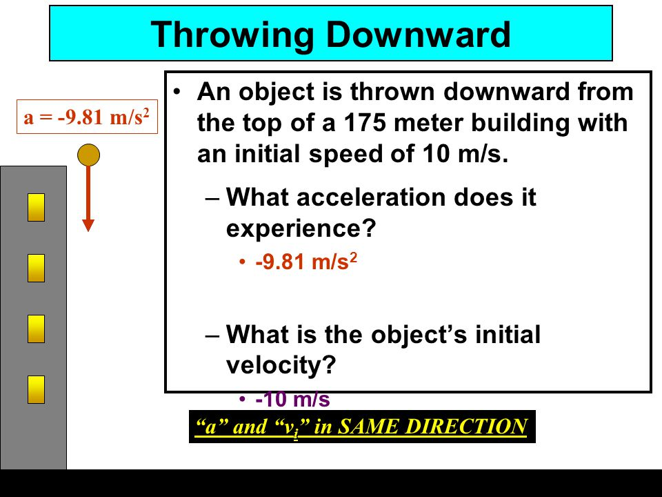 Throwing Downward An object is thrown downward from the top of a 175 meter building with an initial speed of 10 m/s. –What acceleration does it experi