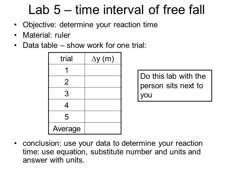 Lab 5 – time interval of free fall Objective: determine your reaction time Material: ruler Data table – show work for one trial: trial∆y (m) 1 2 3 4 5