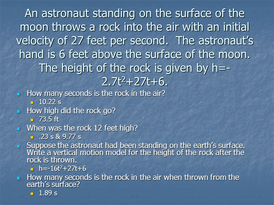 An astronaut standing on the surface of the moon throws a rock into the air with an initial velocity of 27 feet per second.