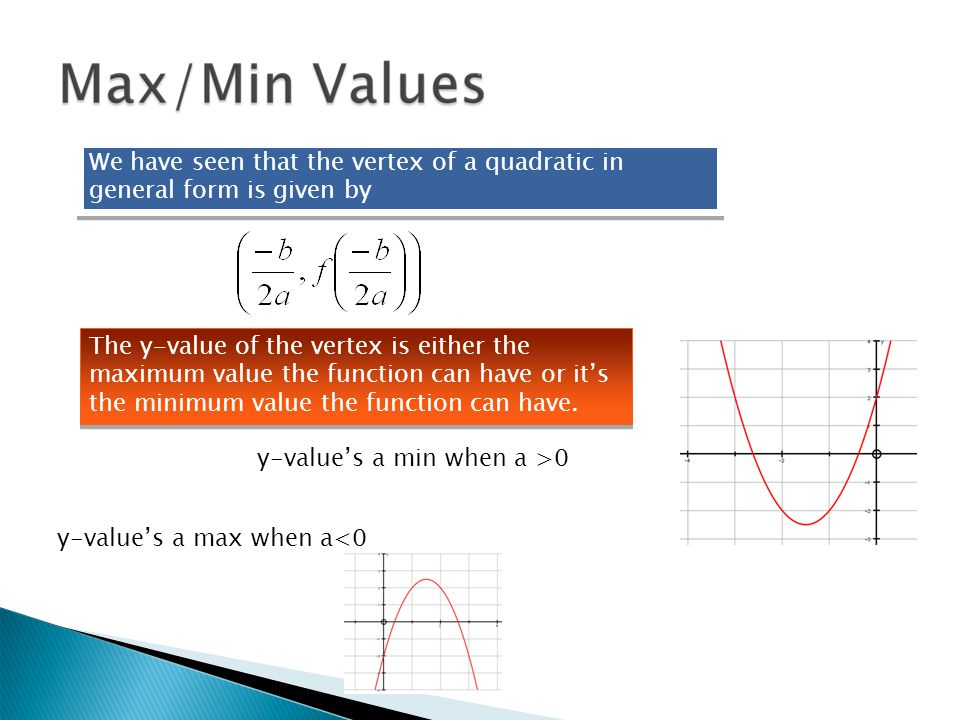 We have seen that the vertex of a quadratic in general form is given by The y-value of the vertex is either the maximum value the function can have or it's the minimum value the function can have.