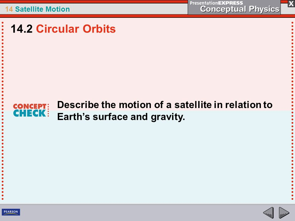14 Satellite Motion Describe the motion of a satellite in relation to Earth's surface and gravity. 14.2 Circular Orbits