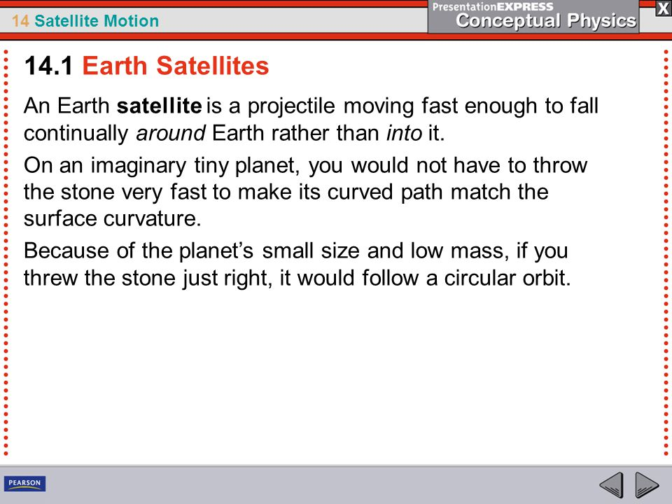 14 Satellite Motion An Earth satellite is a projectile moving fast enough to fall continually around Earth rather than into it. On an imaginary tiny p