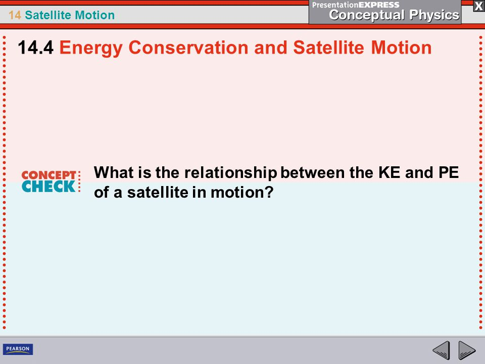 14 Satellite Motion What is the relationship between the KE and PE of a satellite in motion? 14.4 Energy Conservation and Satellite Motion