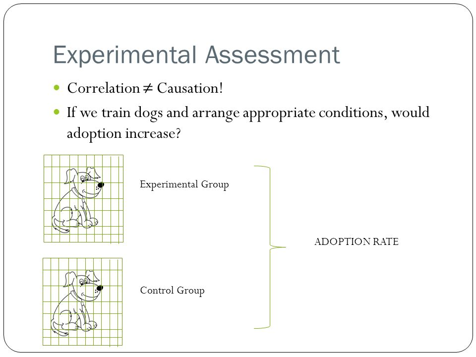 Experimental Assessment Correlation ≠ Causation.