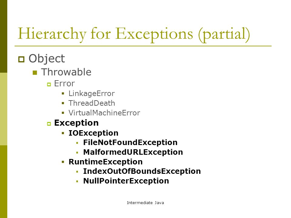 Intermediate Java Hierarchy for Exceptions (partial)  Object Throwable  Error  LinkageError  ThreadDeath  VirtualMachineError  Exception  IOException  FileNotFoundException  MalformedURLException  RuntimeException  IndexOutOfBoundsException  NullPointerException