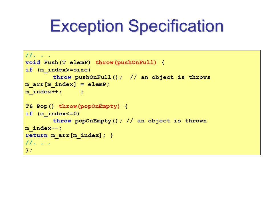 Exception Specification //...