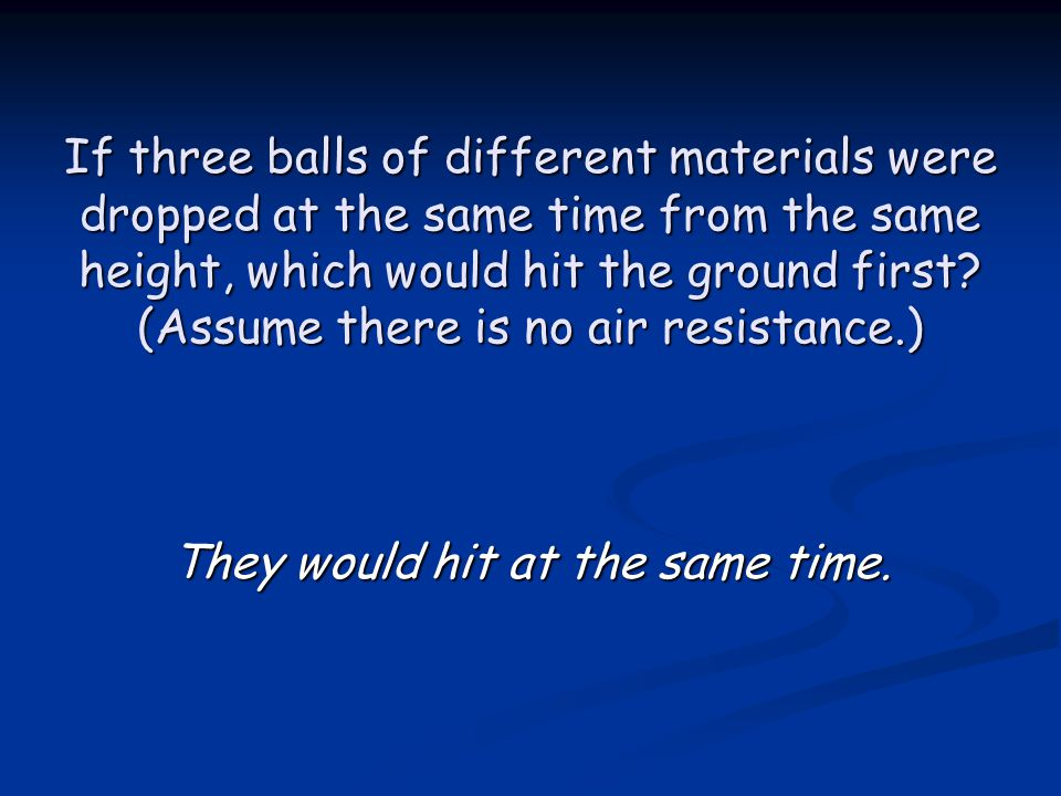 If three balls of different materials were dropped at the same time from the same height, which would hit the ground first.