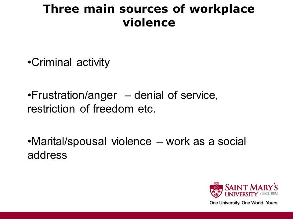 Criminal activity Frustration/anger – denial of service, restriction of freedom etc.