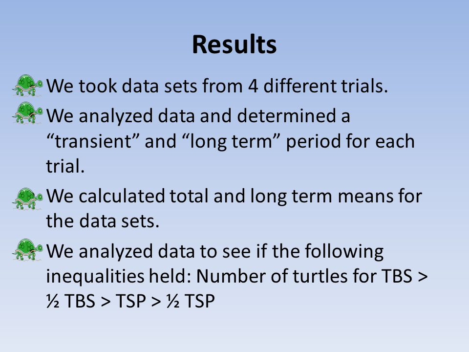 Results We took data sets from 4 different trials.