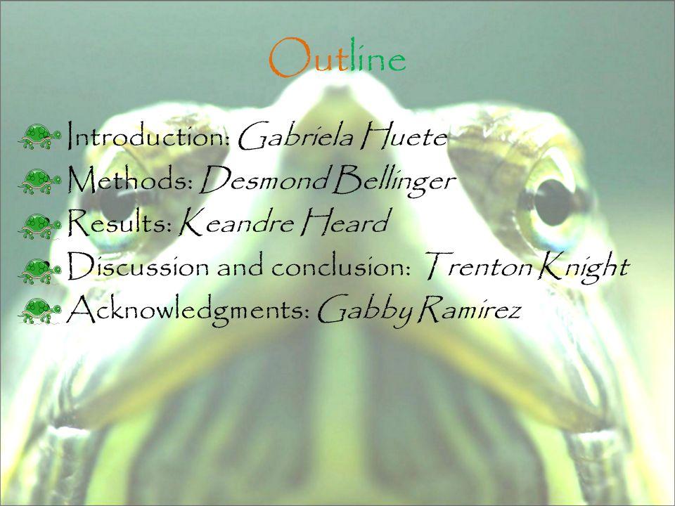 Outline Introduction: Gabriela Huete Methods: Desmond Bellinger Results: Keandre Heard Discussion and conclusion: Trenton Knight Acknowledgments: Gabby Ramirez