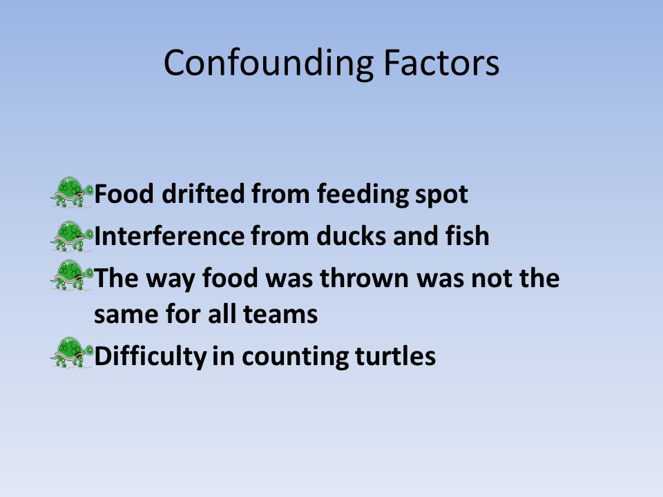 Confounding Factors Food drifted from feeding spot Interference from ducks and fish The way food was thrown was not the same for all teams Difficulty in counting turtles