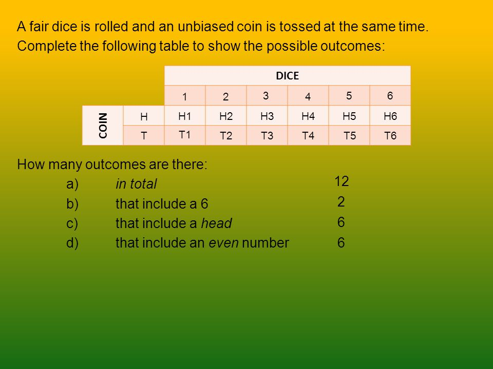A fair dice is rolled and an unbiased coin is tossed at the same time. Complete the following table to show the possible outcomes: How many outcomes a