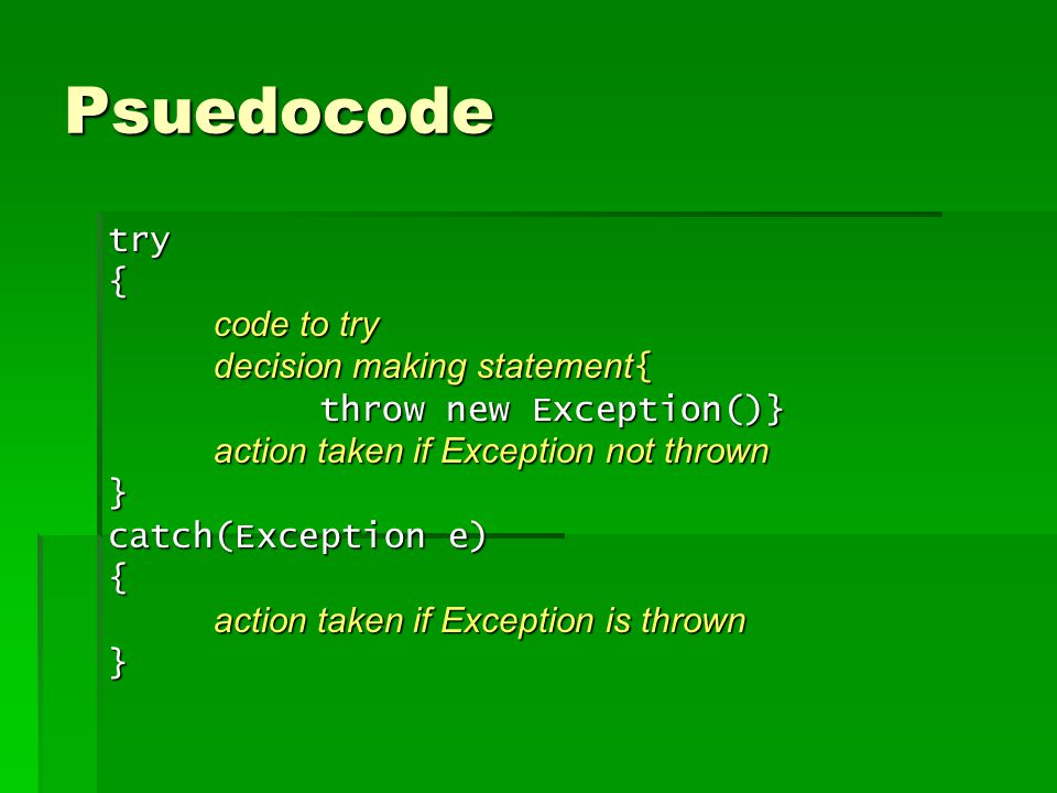 Flow of Code try{ code to try decision making statement{ throw new Exception()} action taken if Exception not thrown } catch(Exception e) { action taken if Exception is thrown } If Decision making statement is false Completes code inside Try block and skips over the catch block If Decision making statement is true After Exception is thrown, skips down to the catch block