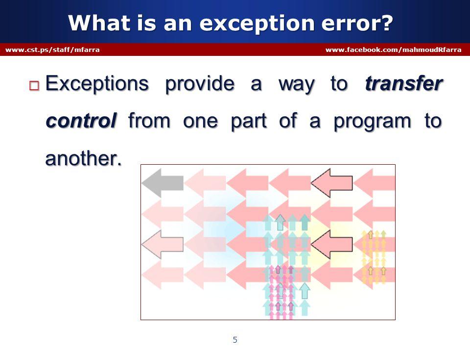 User Defined Exception www.cst.ps/staff/mfarra www.facebook.com/mahmoudRfarra 16 Every user defined exception must be defined as a new class Every user defined exception must be derived from ApplicationException ApplicationException New Exception Class