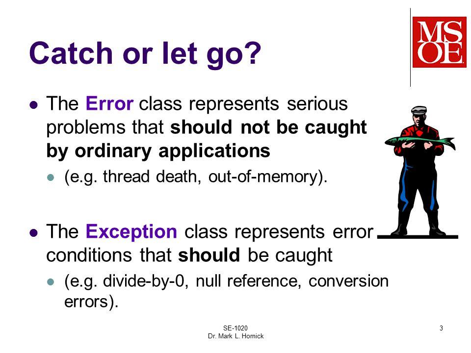 SE-1020 Dr. Mark L. Hornick 3 Catch or let go.