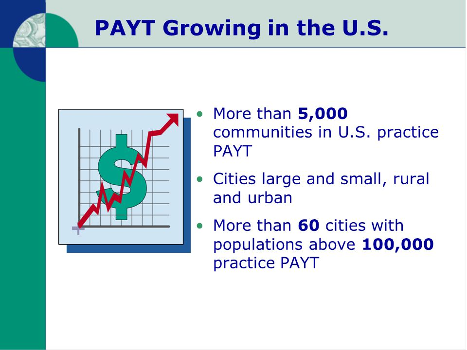 PAYT Growing in the U.S. More than 5,000 communities in U.S.