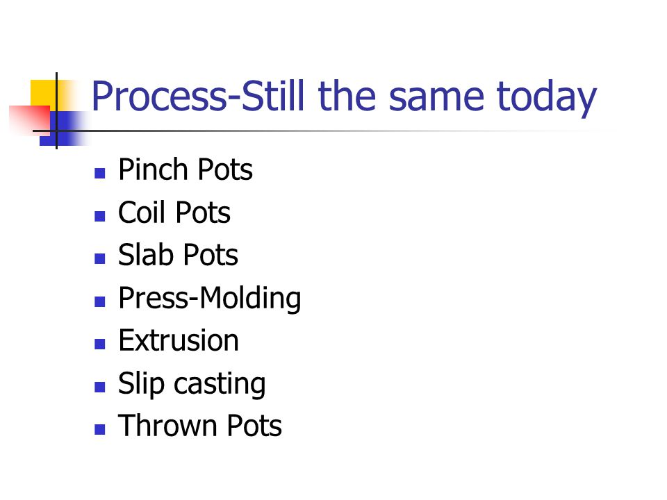 Process-Still the same today Pinch Pots Coil Pots Slab Pots Press-Molding Extrusion Slip casting Thrown Pots