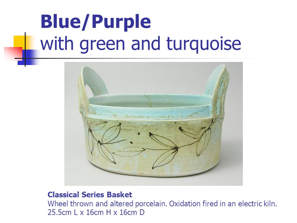 Blue/Purple with green and turquoise Classical Series Basket Wheel thrown and altered porcelain. Oxidation fired in an electric kiln. 25.5cm L x 16cm