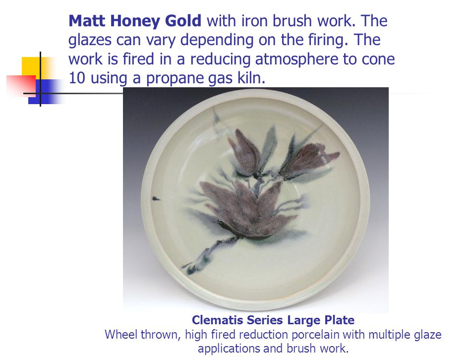Clematis Series Large Plate Wheel thrown, high fired reduction porcelain with multiple glaze applications and brush work. Matt Honey Gold with iron br