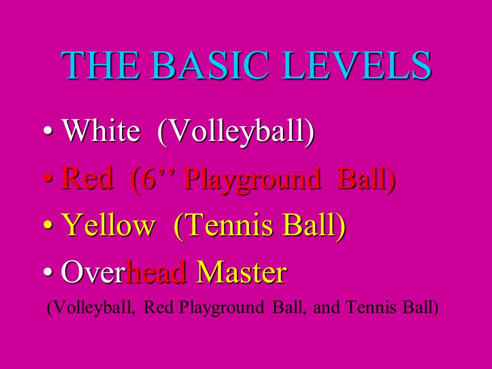 THE BASIC LEVELS White (Volleyball)White (Volleyball) Red ( 6'' Playground Ball)Red ( 6'' Playground Ball) Yellow (Tennis Ball)Yellow (Tennis Ball) Overhead MasterOverhead Master (Volleyball, Red Playground Ball, and Tennis Ball)