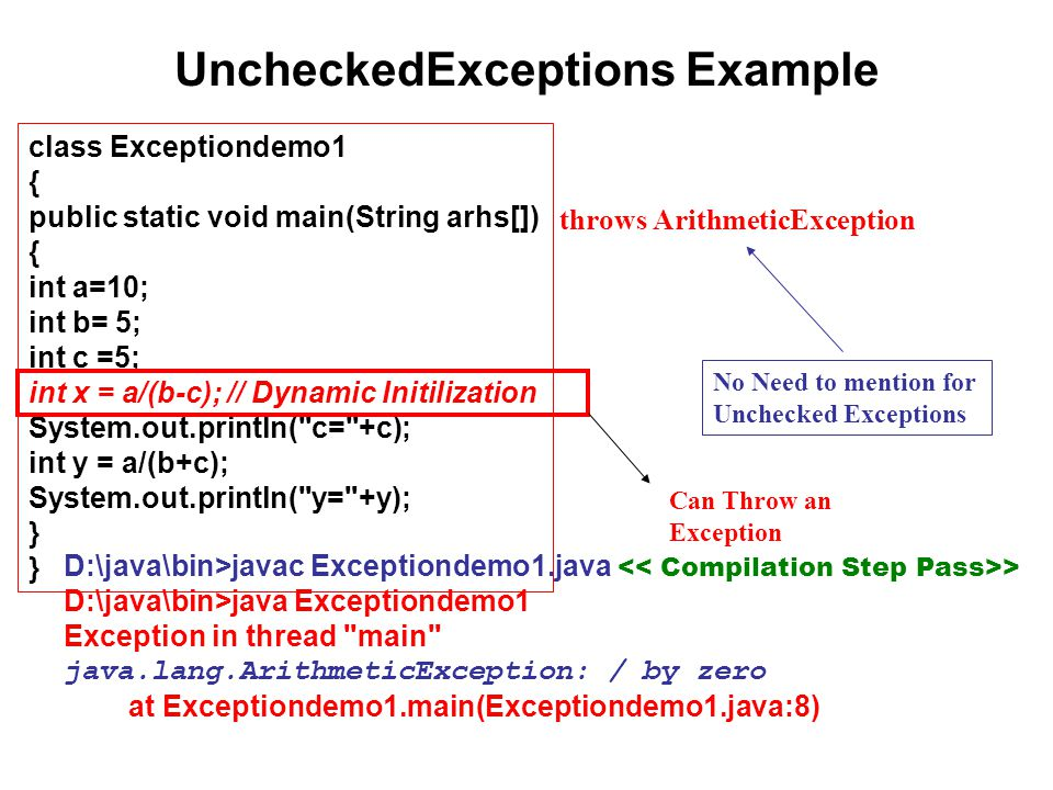 UncheckedExceptions Example class Exceptiondemo1 { public static void main(String arhs[]) { int a=10; int b= 5; int c =5; int x = a/(b-c); // Dynamic