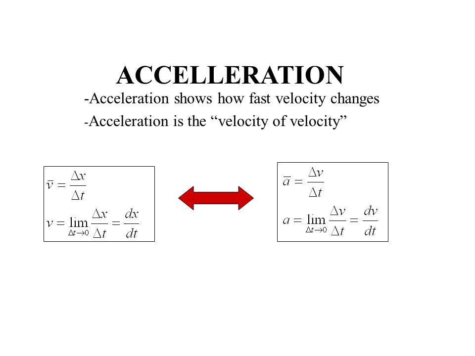ACCELLERATION -Acceleration shows how fast velocity changes - Acceleration is the velocity of velocity