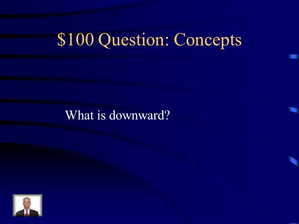 $100 -- Concepts When a projectile is moving upwards, this is The direction the acceleration points.