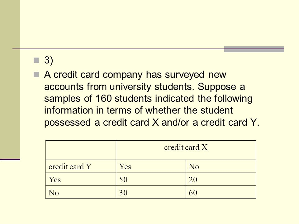 3) A credit card company has surveyed new accounts from university students. Suppose a samples of 160 students indicated the following information in