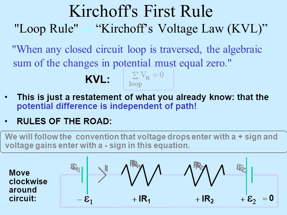 Kirchoff s First Rule Loop Rule or Kirchoff's Voltage Law (KVL) When any closed circuit loop is traversed, the algebraic sum of the changes in potential must equal zero. This is just a restatement of what you already know: that the potential difference is independent of path.