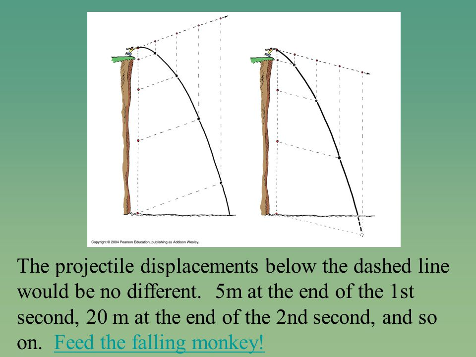 The projectile displacements below the dashed line would be no different.